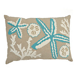 Embroidered Starfish Accent Pillow