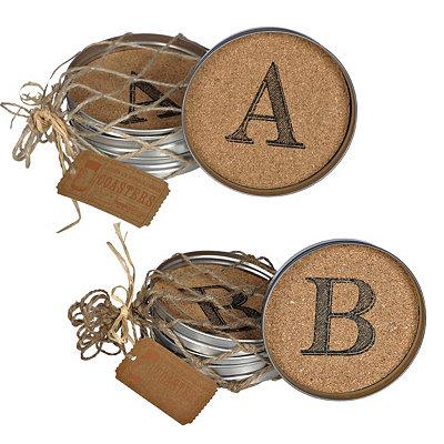 Cork Monogram Lid Coasters