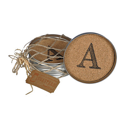 Cork Monogram A Lid Coasters, Set of 4