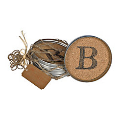 Cork Monogram B Lid Coasters, Set of 4