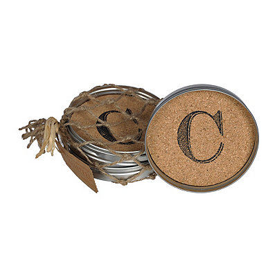 Cork Monogram C Lid Coasters, Set of 4