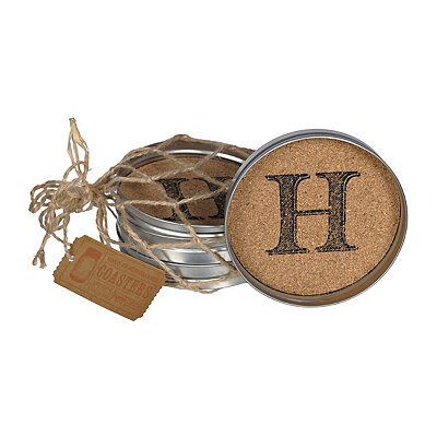 Cork Monogram H Lid Coasters, Set of 4
