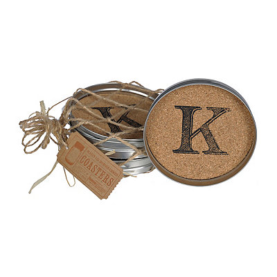 Cork Monogram K Lid Coasters, Set of 4