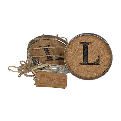 Cork Monogram L Lid Coasters, Set of 4