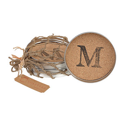 Cork Monogram M Lid Coasters, Set of 4