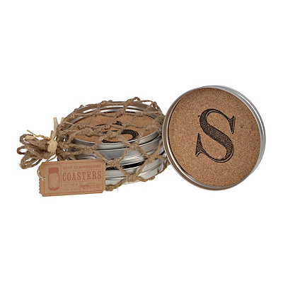 Cork Monogram S Lid Coasters, Set of 4