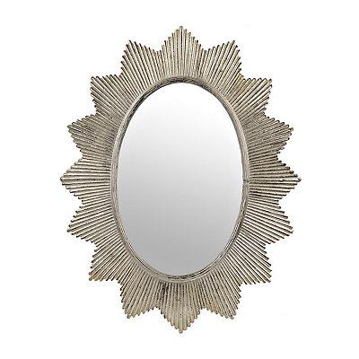 Silver Penelope Sunburst Oval Mirror