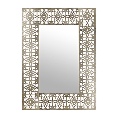 Silver Pierced Floral Tile Mirror