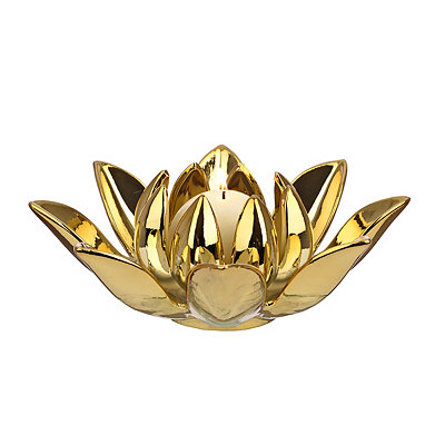 Plated Gold Lotus Votive Candle Holder