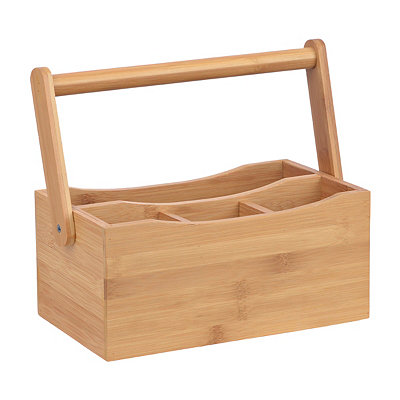Bamboo Kitchen Caddy with Folding Handle