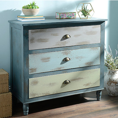Distressed Blue Ombre 3-Drawer Chest