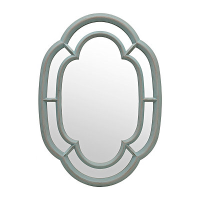 Antique Blue Oval Inlay Mirror