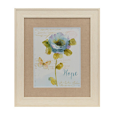 Hope Blue Watercolor Floral Framed Art Print