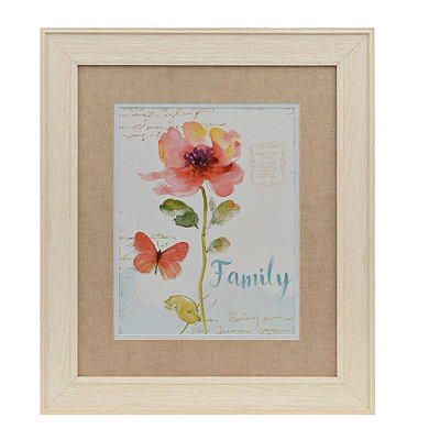 Family Coral Watercolor Floral Framed Art Print