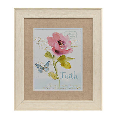 Faith Pink Watercolor Floral Framed Art Print