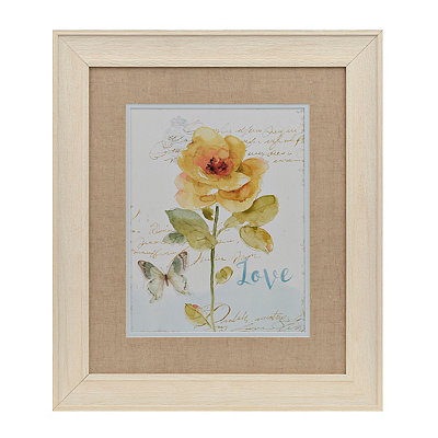 Love Yellow Watercolor Floral Framed Art Print