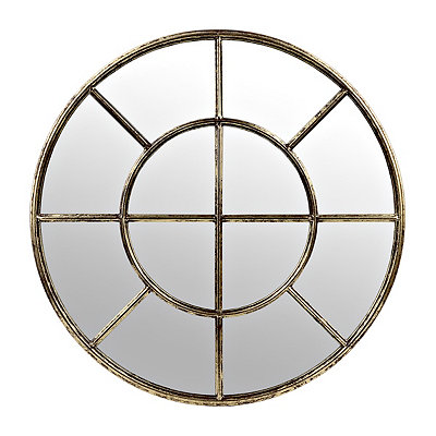 Distressed Gold Metal Pane Round Mirror