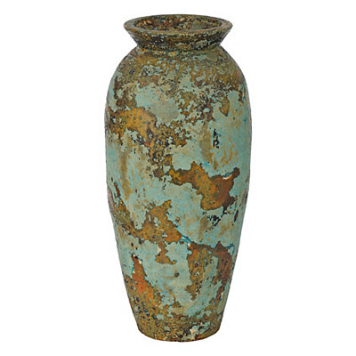 Aged Blue and Green Clay Vase