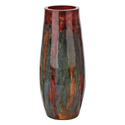 Red and Blue Artex Vase
