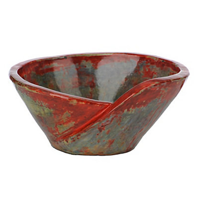 Red and Blue Artex Bowl