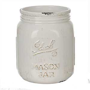 Cream Ideal Mason Jar Ceramic Utensil Holder