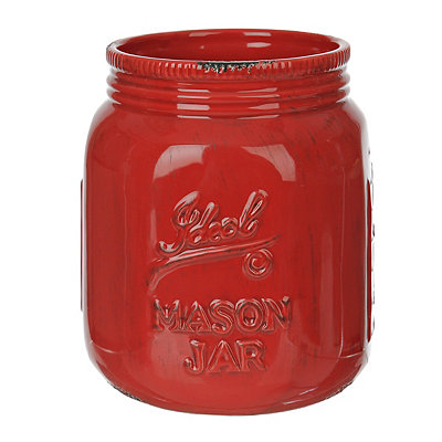 Red Ideal Mason Jar Ceramic Utensil Holder