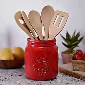 Red Ideal Mason Jar Ceramic Utensil Holder