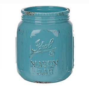 Turquoise Ideal Mason Jar Ceramic Utensil Holder