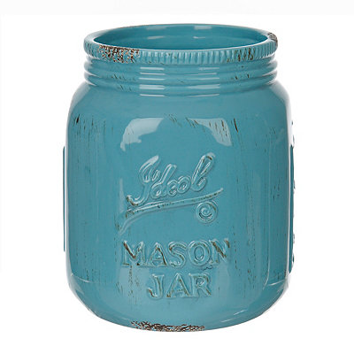 Turquoise Ideal Mason Jar Ceramic Utensil Holder