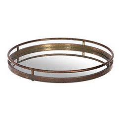 Metal Verdigris Mirrored Tray