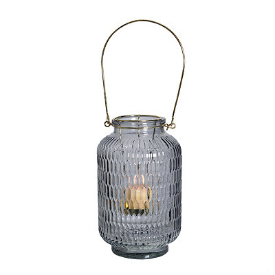 Gray Embossed Lantern with Gold Handle