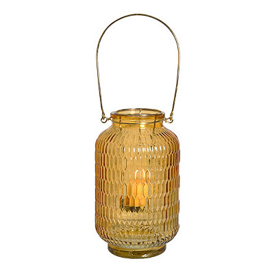 Orange Embossed Lantern with Gold Handle