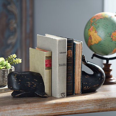 Black Whale Bookends, Set of 2