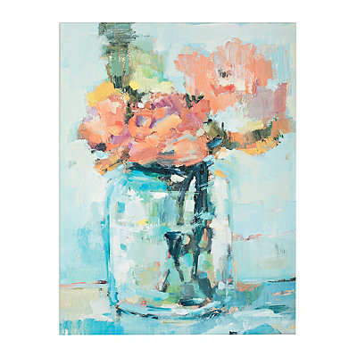 Mason Jar Flowers Canvas Art Print