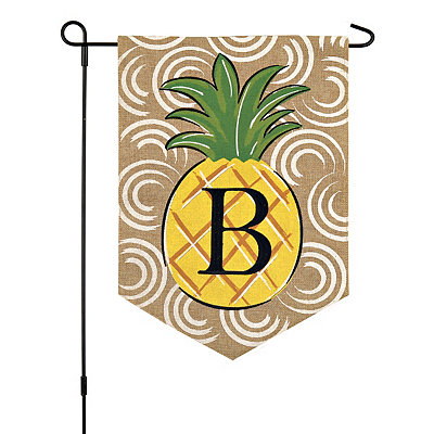 Burlap Pineapple Monogram Flag Sets