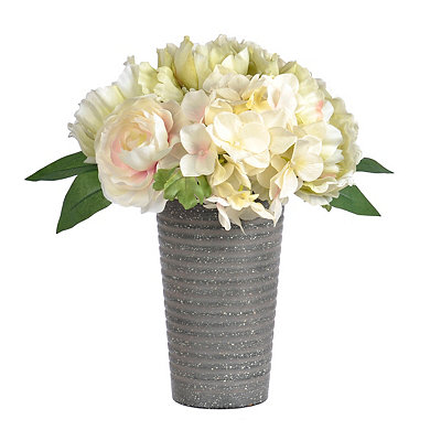Mixed Peony Arrangement in a Metal Urn