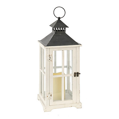 White Window Pane LED Lantern