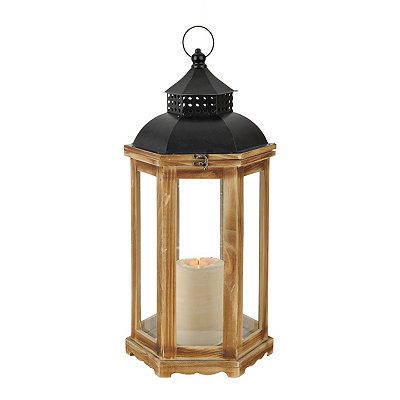 Natural Wood and Black Metal Lantern