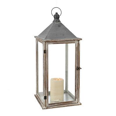 Gray Wood and Metal Lantern