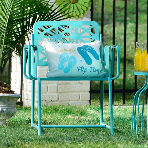 ... Turquoise Retro Metal Chair ...