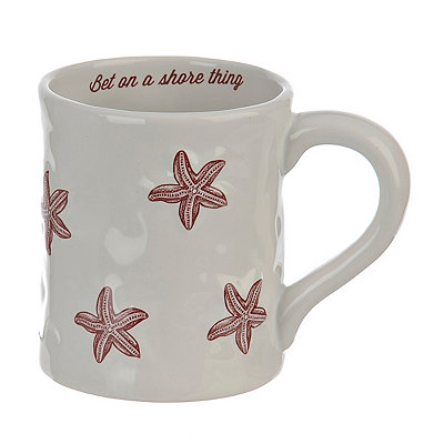 Embossed Red Starfish Mug