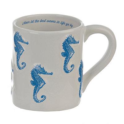 Embossed Blue Seahorse Mug