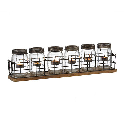 Mason Jar Cage Tealight Candle Runner, Set of 7