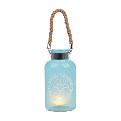 Aqua Glass Compass Wheel Lantern