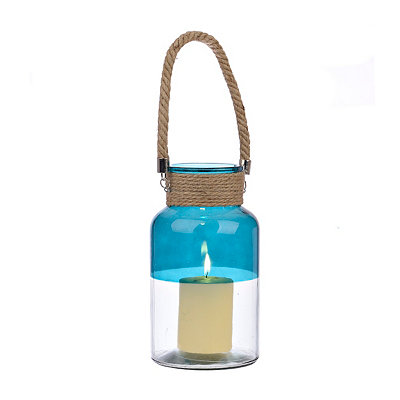 Turquoise and Clear Glass Lantern