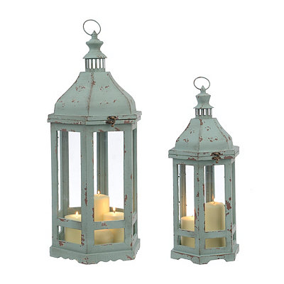Bristol Distressed Aqua Lanterns, Set of 2