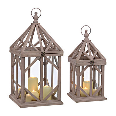 Brown Cabin Lanterns, Set of 2