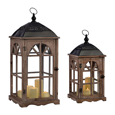 Natural Arch Window Lanterns, Set of 2