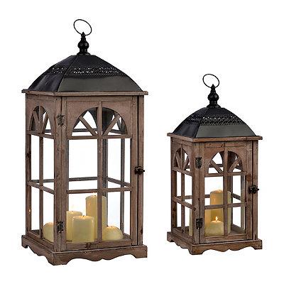 Natural Arch Window Lanterns, Set of 2