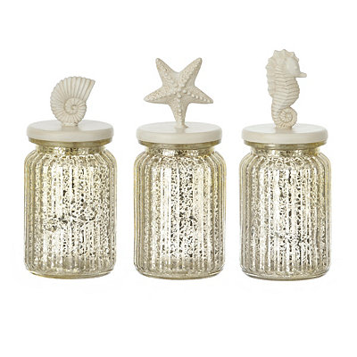 Silver Mercury Glass Coastal Jars, Set of 3